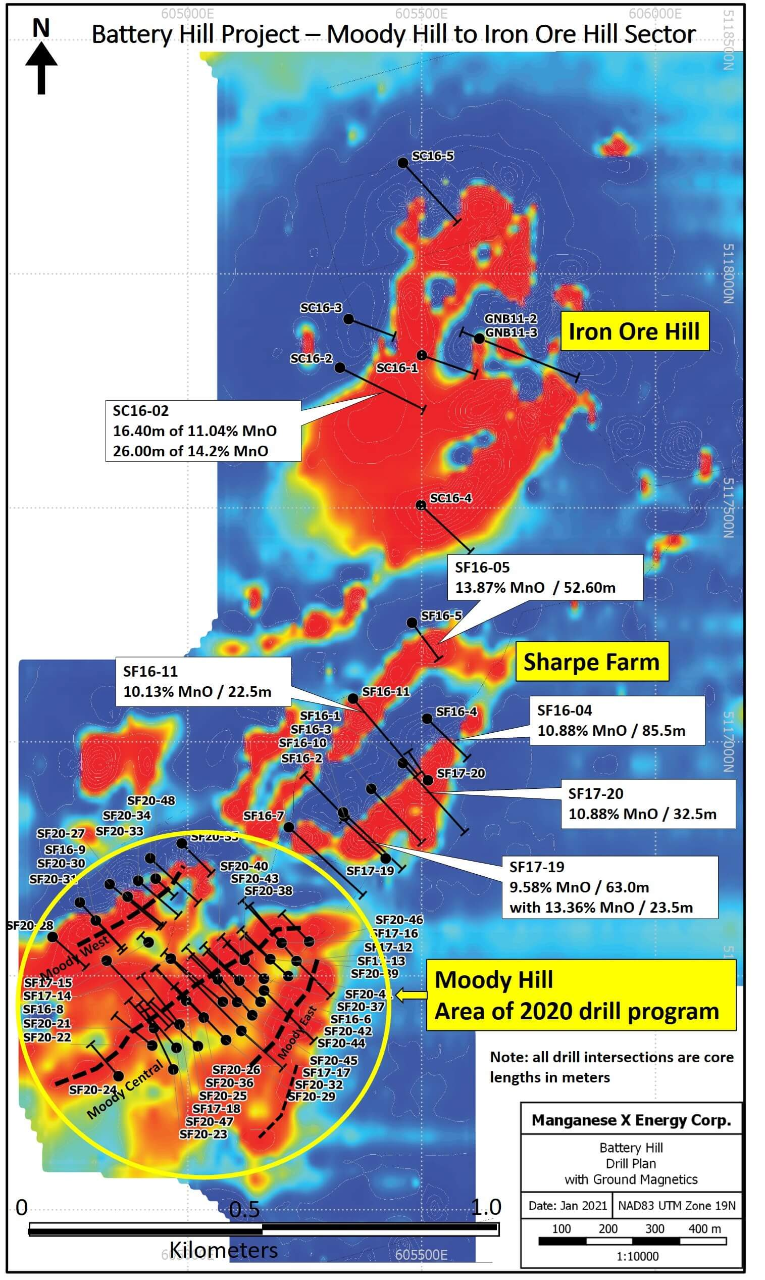 Battery Hill Project Drill Plan on Magnetics
