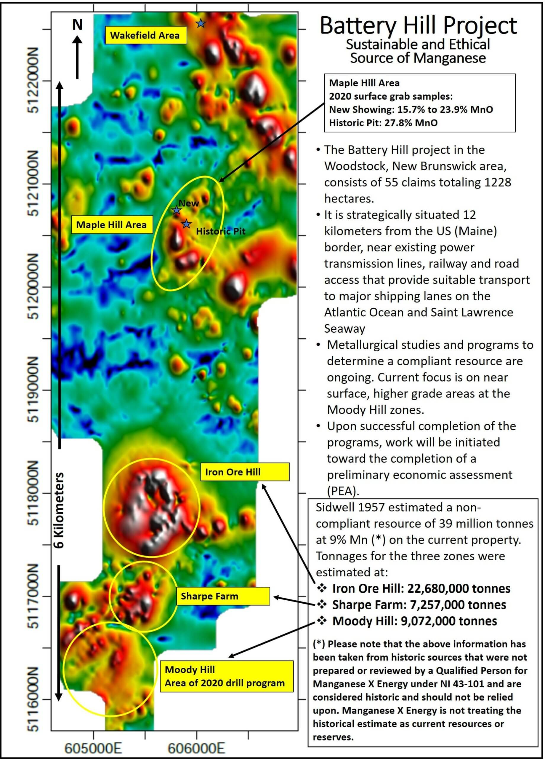 Battery Hill Property Scale Magnetics with Mineralized Zones